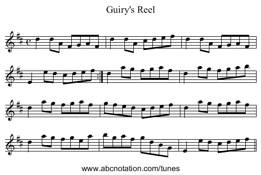 Guiry's Reel - staff notation