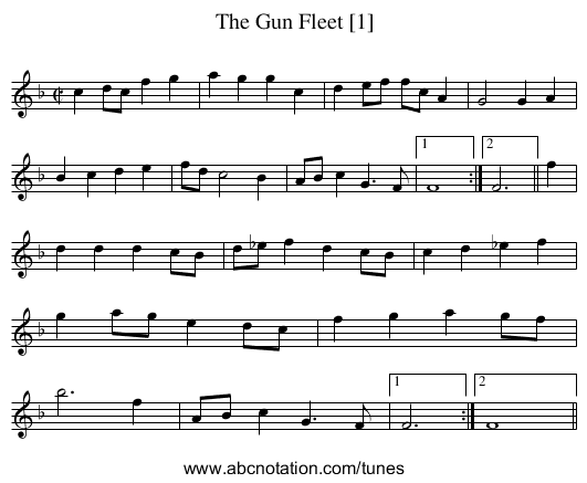 Gun Fleet [1], The - staff notation