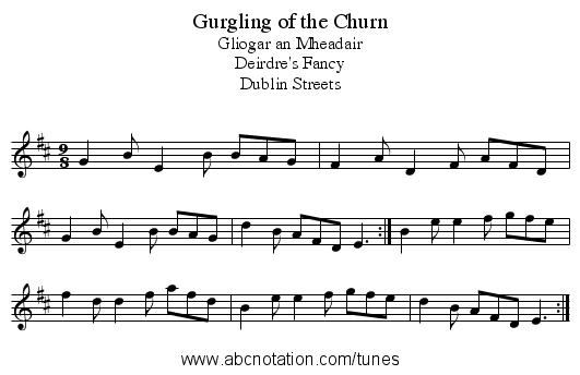 Gurgling of the Churn - staff notation