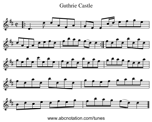Guthrie Castle - staff notation