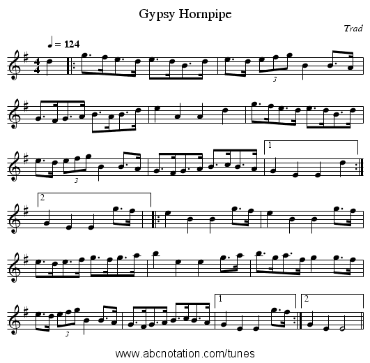 Gypsy Hornpipe - staff notation