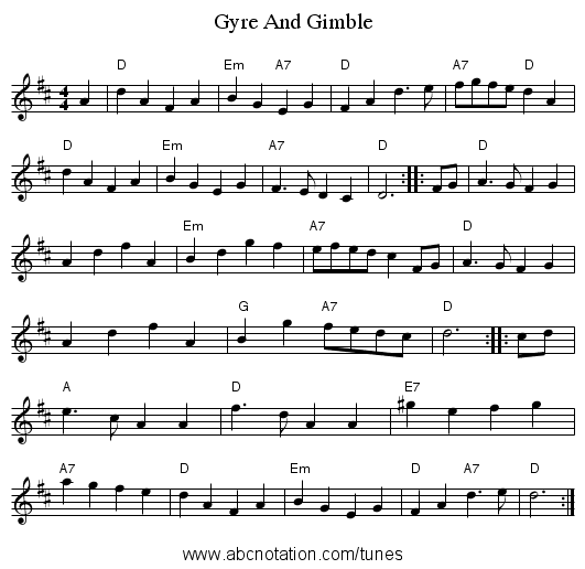 Gyre And Gimble - staff notation