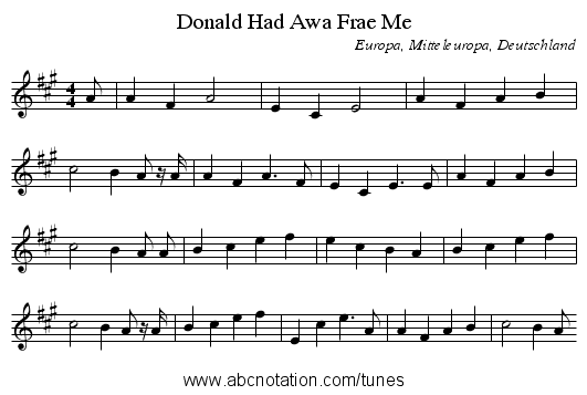 Had Awa Frae Me, Donald - staff notation