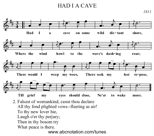 HAD I A CAVE - staff notation