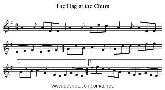 Hag at the Churn, The - staff notation