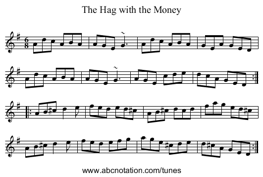 Hag with the Money, The - staff notation