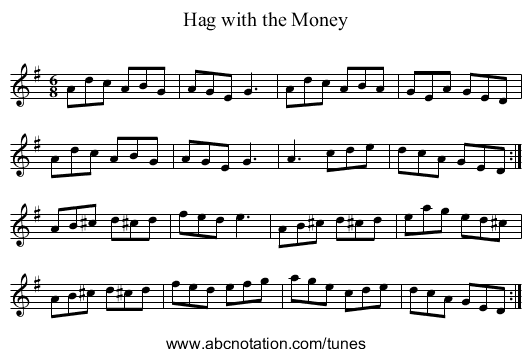 Hag with the Money - staff notation