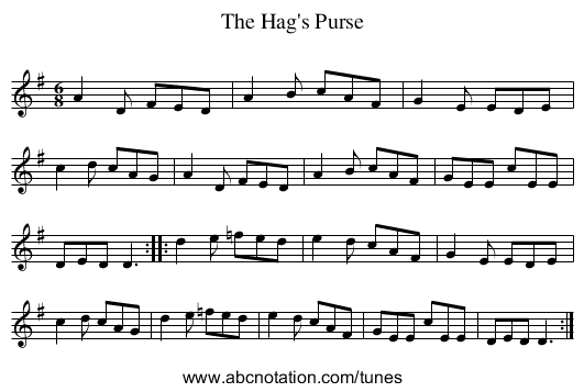 Hag's Purse, The - staff notation