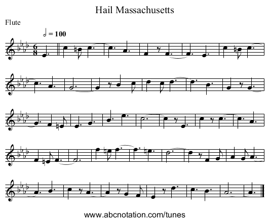 Hail Massachusetts - staff notation