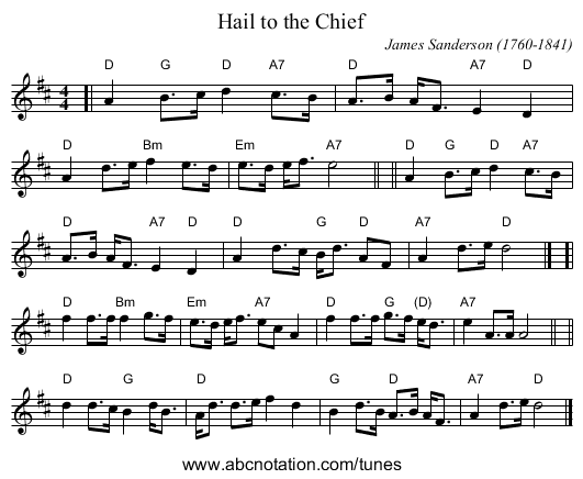 Hail to the Chief - staff notation