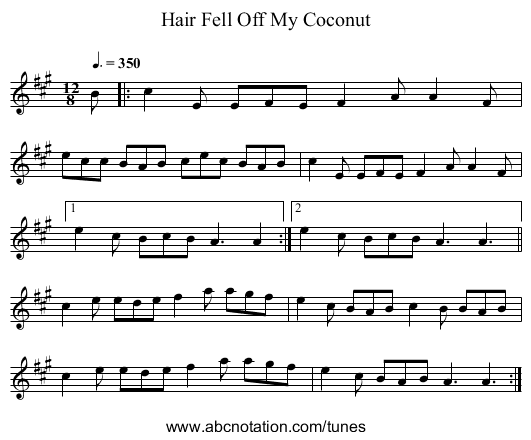 Hair Fell Off My Coconut - staff notation