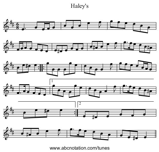 Haley's - staff notation