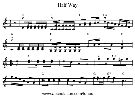 Half Way - staff notation