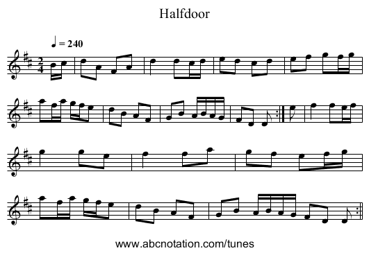 Halfdoor - staff notation