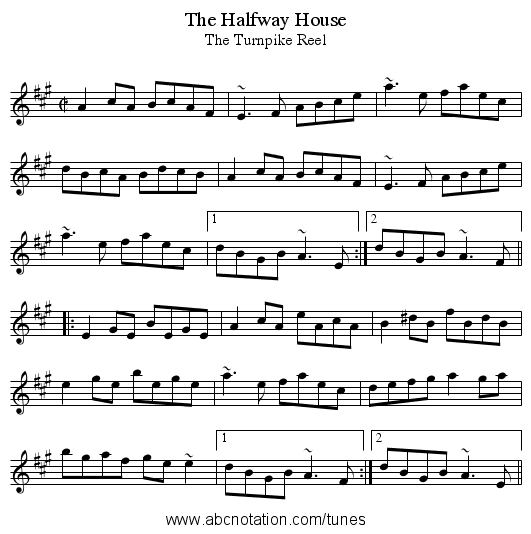Halfway House, The - staff notation