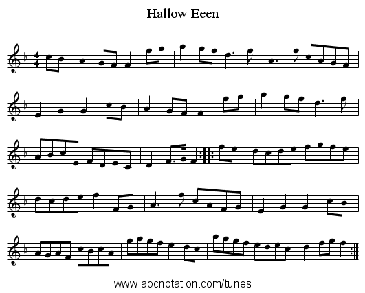 Hallow Eeen - staff notation