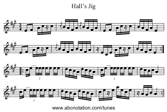 Hall's Jig - staff notation