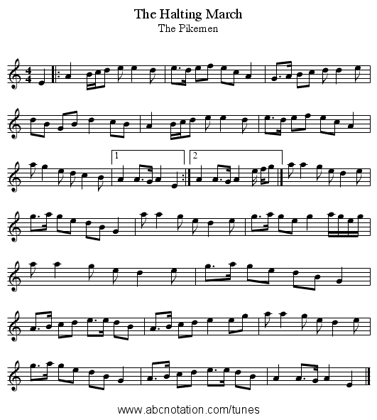 Halting March, The - staff notation