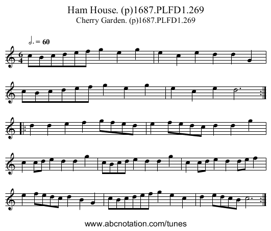 Ham House. (p)1687.PLFD1.269 - staff notation