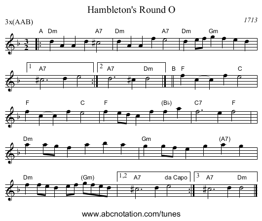 Hambleton's Round O - staff notation