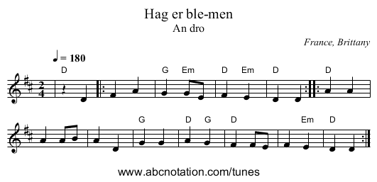 Hambo - staff notation
