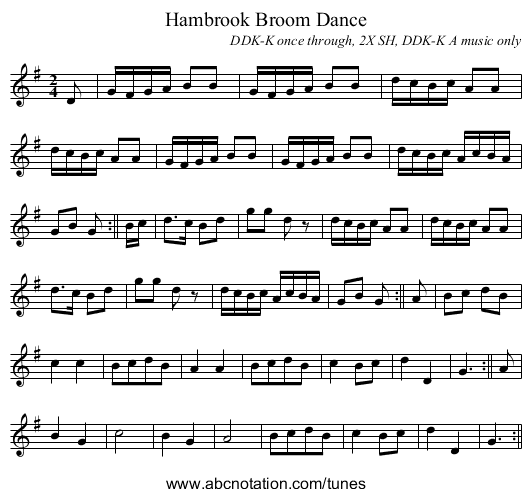 Hambrook Broom Dance - staff notation