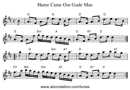 Hame Came Our Gude Man - staff notation