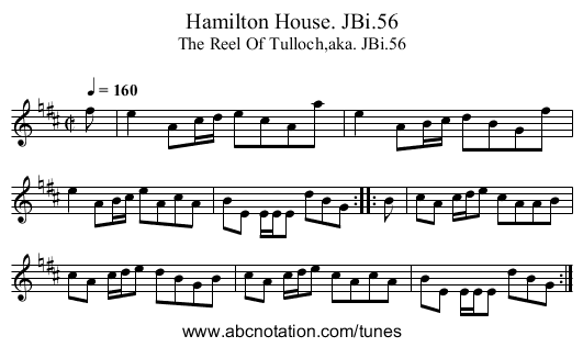 Hamilton House. JBi.56 - staff notation