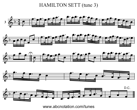HAMILTON SETT (tune 3) - staff notation