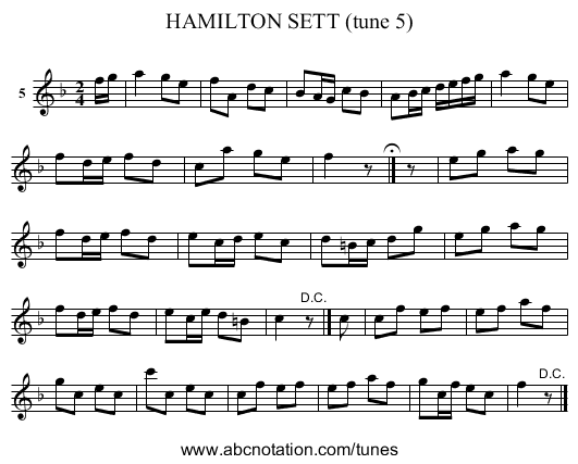 HAMILTON SETT (tune 5) - staff notation