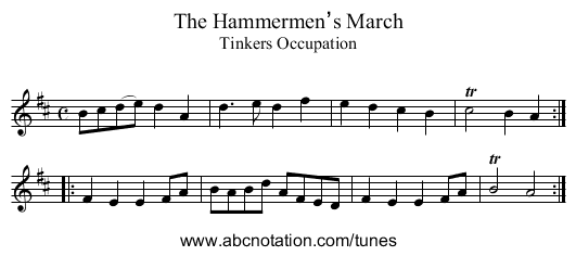 Hammermen's March, The - staff notation