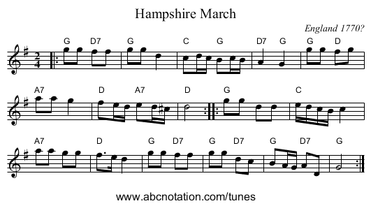 Hampshire March - staff notation