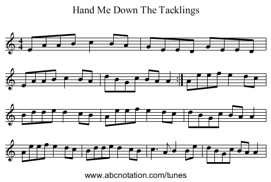Hand Me Down The Tacklings - staff notation