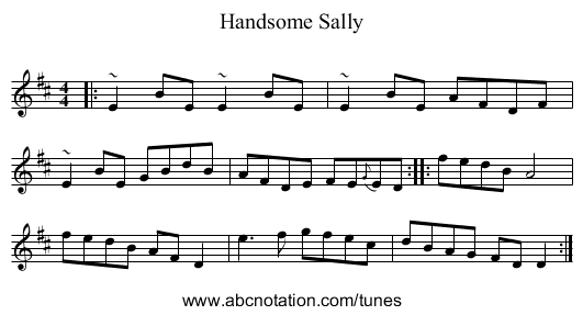 Handsome Sally - staff notation