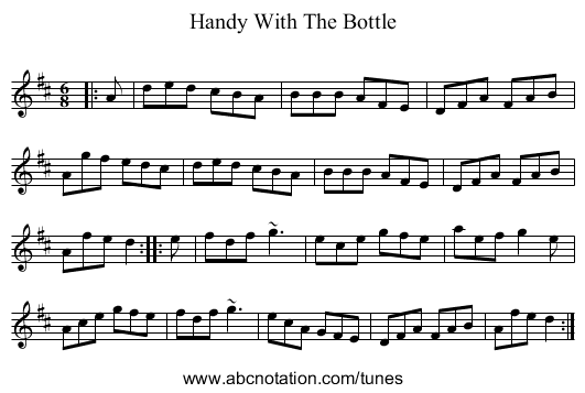 Handy With The Bottle - staff notation