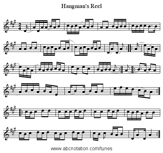Hangman's Reel - staff notation