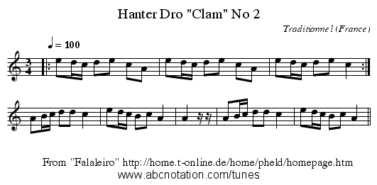 Hanter Dro Clam No 2 - staff notation