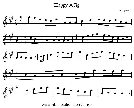 Happy A Jig - staff notation