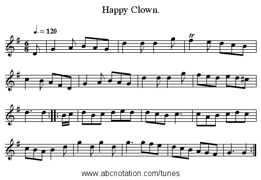 Happy Clown. - staff notation