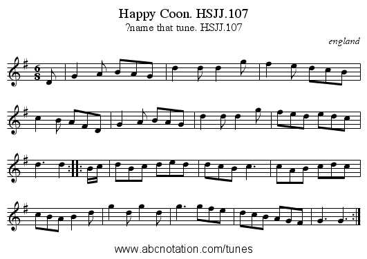 Happy Coon. HSJJ.107 - staff notation
