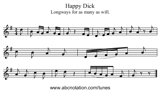 Happy Dick - staff notation