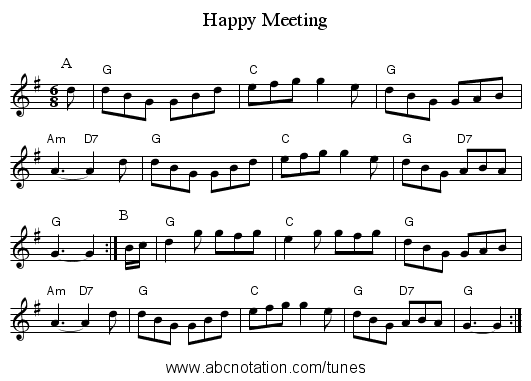Happy Meeting - staff notation