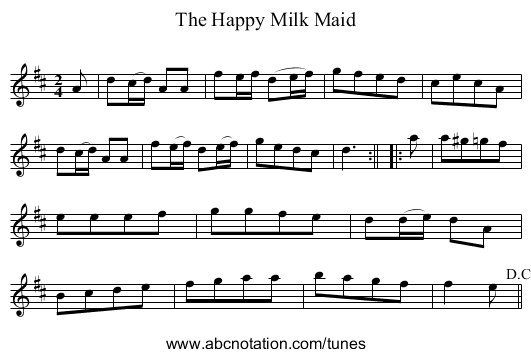 Happy Milk Maid, The - staff notation