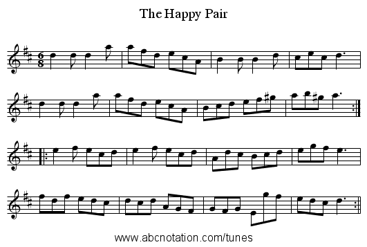 Happy Pair, The - staff notation