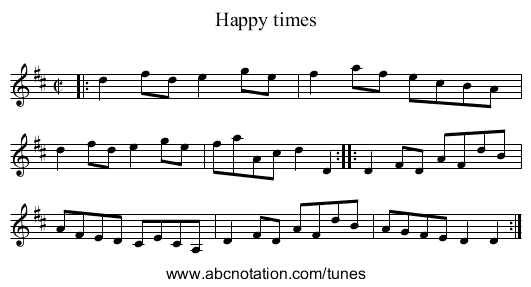 Happy times - staff notation