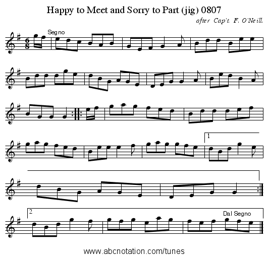 Happy to Meet and Sorry to Part (jig) 0807 - staff notation