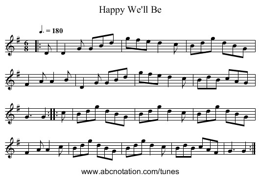 Happy We'll Be - staff notation