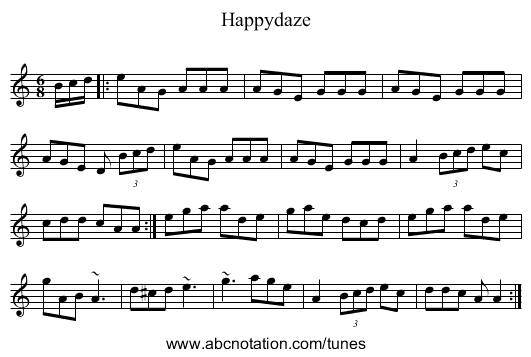 Happydaze - staff notation