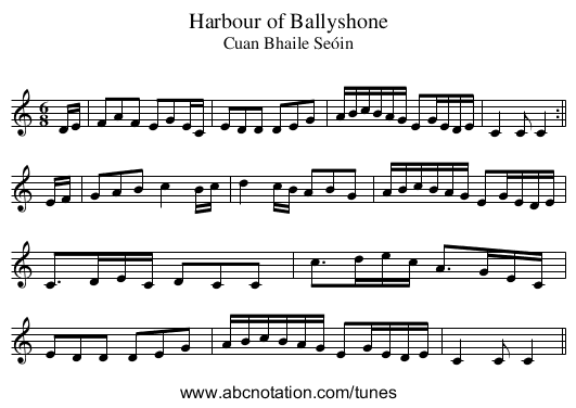 Harbour of Ballyshone - staff notation