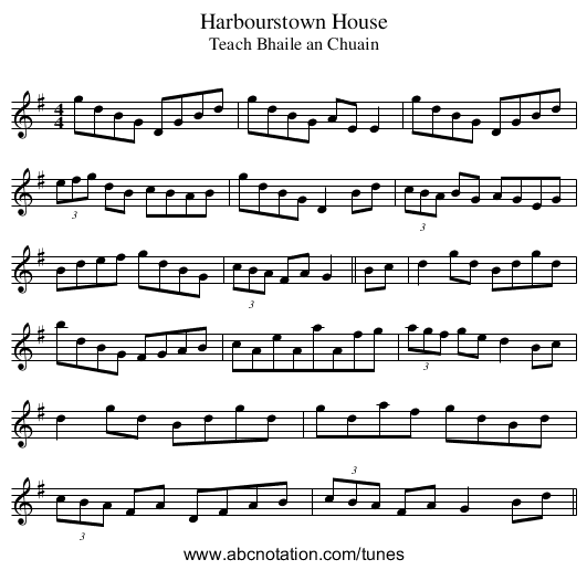 Harbourstown House - staff notation